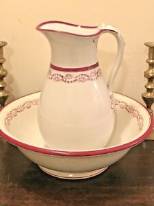 Antique Cranberry Transferware Ironstone China Pitcher And Basin Bowl Numbered