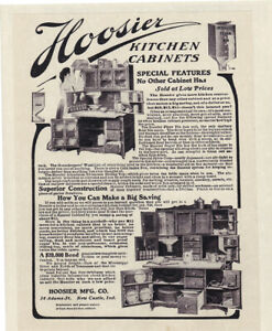 Hoosier Kitchen Cabinets Vintage 1906 With Flour Bin 8x10 Reprint Ad Antique