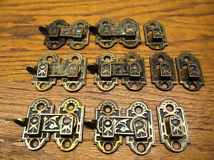 6 Old Complete Eastlake Shutter Latches Locks Brass Bronze Extra Catches