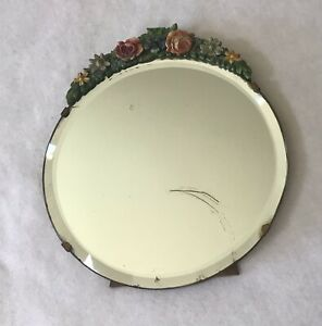 Lovely And Vintage Barbola Round Dressing Table Mirror Authentic