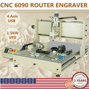 Usb 4 Axis Cnc 6090 Router Engraver Engraving Milling Drilling Machine 1 5kw Vfd
