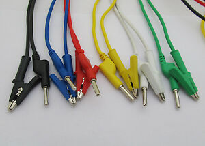 2sets 6colors Silicone High Voltage 4mm Banana Plug To Alligator Clip Test Leads