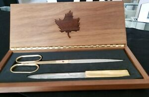 Vintage Solingen Germany Brass Letter Opener And Scissors In Hinged Wood Case