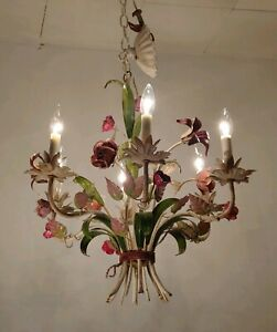 Vintage Tole 6 Light Chandelier Metal Pink Red Flowers Green Leaves