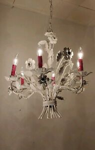 Vintage Tole 6 Light Chandelier Metal White Flowers Leaves Pink Candle Covers