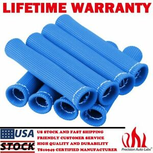 8 Pcs 2500 Spark Plug Wire Boots Heat Shield Protectors Sleeve For Sbc Bbc Blue
