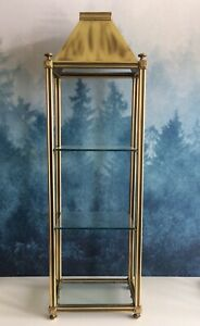 Large Vintage Brass Or Bronze Glass Display Case 3 Shelf Exc Unusual