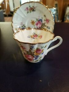 Vintage Gladstone Bone China Demitasse Tea Cup And Saucer Set Floral Teacup