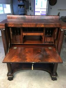 Antique Empire Classical Butler S Desk With Key