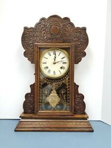 Antique Waterbury Gingerbread Clock Gong Striking Shelf Mantel Oak Working