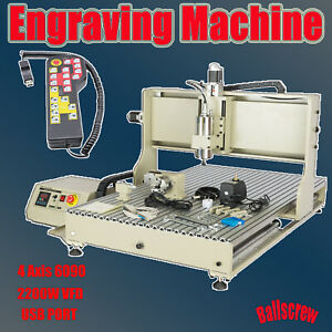 Usb 4axis 2 2kw Cnc 6090 Router Engraver Engraving Milling Carving Machine Rc