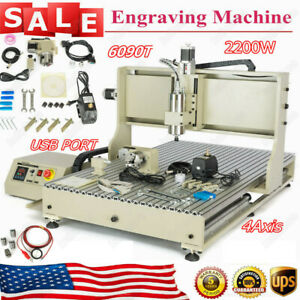 6090 4 axis Router Engraver Milling Machine 2200w Spindle Metal Ballscrews Usb