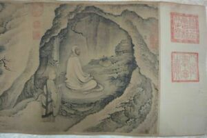 Very Rare Long Old Chinese Scroll Hand Painting Buddhas Daijin Mark