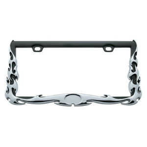 United Pacific 3d Chrome Flame License Plate Frame Universal For Autos