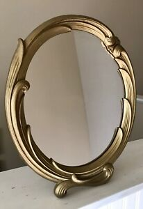 Vintage Antique Syroco Wood Table Wall Mirror Art Deco Ornate Made In N Y