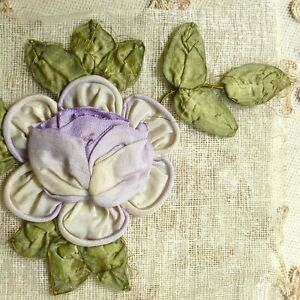 Original Antique French Ombre Ribbon Work Rose