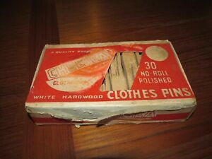 Vintage Box Of 30 Chelsea No Roll White Hardwood Clothes Pins Made In Belgium