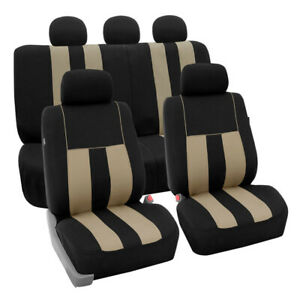 Car Seat Covers Striking Striped Front Rear Removable Headrest Full Set