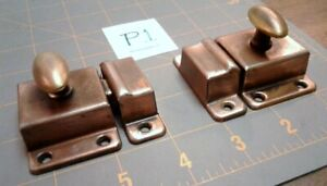 Pair Cupboard Cabinet Turn Latches Twist Knobs Copper Flash Antique 1920s Era