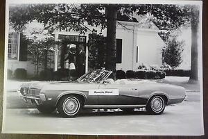 1969 Mercury Cougar Convertible Top Down 12 By 18 Black White Picture