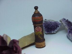 Antique Treen Wood Hand Carved Painted Etui Sewing Needle Case Rose 4