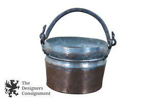 Antique Forged Dovetailed Turkish Copper Cauldron Hammered Cooking Pot Kettle