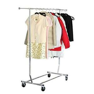 Single bar Heavy Duty Adjustable Clothing Garment Rolling Scalable Rack