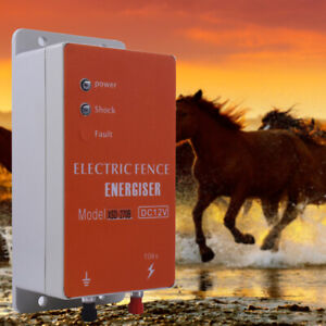 12v Solar Electric 10km Fence Energizer Charger For Animals Poultry Controller