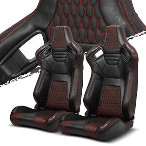 Pairs Black red Stitching Pvc Leather L r Racing Bucket Seat slider