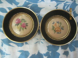Two Vintage Roses Needlepoint Round Leather Covered Frame Convex Glass