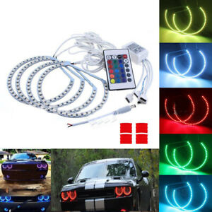 12v Dc Car Headlight Led Angel Eye Rgb Halo Rings For Dodge Challenger Accessory