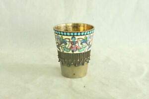 Great Antique 1908 1926 Silver Russian Shaded Enamel Vodka Beaker Shot Glass