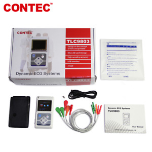 Contec 3 Channel 24 Holter Monitor Ecg ekg System Machine pc Software Analyse Us