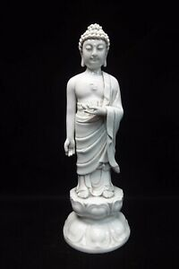 Very Large Old Chinese Dehua White Glaze Porcelain Buddha Statue Mark