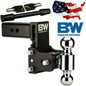 B W Tow And Stow Hitch Ball Mount 2 5 Inch Shank Dual Ball Ts20037b Lock Bundle