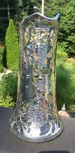 Large Antique Sterling Silver Overlay Grape Pattern Pitcher 2287g As Is