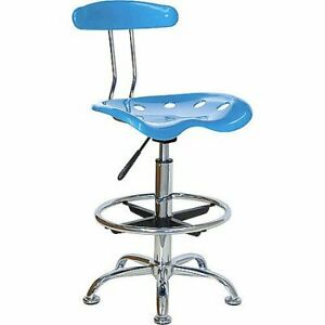 Adjustable Height Drafting Stool W Tractor Seat Office Chair Furniture Bar Lab