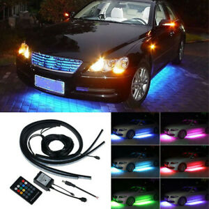 4x Rgb Led Strip Under Car Tube Underglow Underbody System Neon Light Kit remote