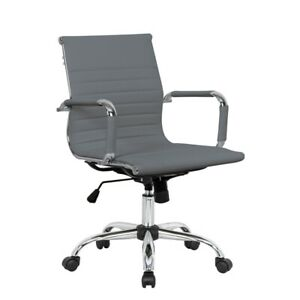 Leisuremod Harris Modern Leatherette Executive Swivel Office Chair In Gray