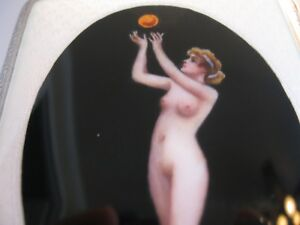 Sterling Silver Cigarette Case Hand Painted Enamel Nude Pagan Girl