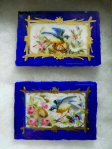 Pair Of Sweet 18th Cent French Handmade Porcelain Tiles Blue Birds Nest Flowers