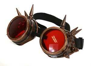 Red Lens Victorian Steampunk Spike Goggles Glasses Welding Cyber Punk Cosplay