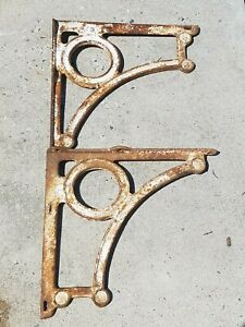 Antique Pair Cast Iron Large Shelf Brackets Vintage Industrial White