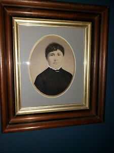 Antique Victorian Walnut Picture Frame And Hand Embellished Photograph