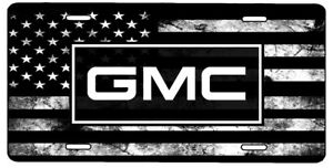 New Custom American Flag Tactical Black And White Gmc Vanity License Plate