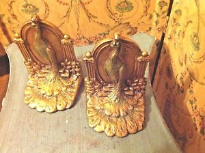 Antique Peacock Bird Statue Bookends Pair Solid Heavy Gilt Cast Iron 6