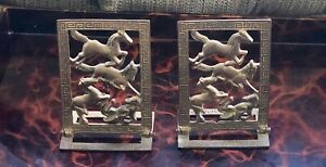 Antique Chinese Bookends Tang Horse Bronze Signed 6 Folding Brass Cut Out 19thc