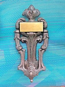 Antique Cast Iron Door Knocker Brass Name Plate 8 Marked Victorian Numbered