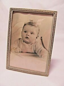 Vintage Small Photo Picture Frame Convex Glass Easel Back Tabletop White