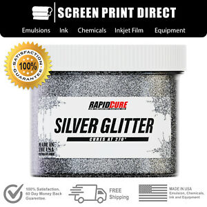 Silver Glitter Premium Plastisol Ink For Screen Printing Low Temp Cure 8oz